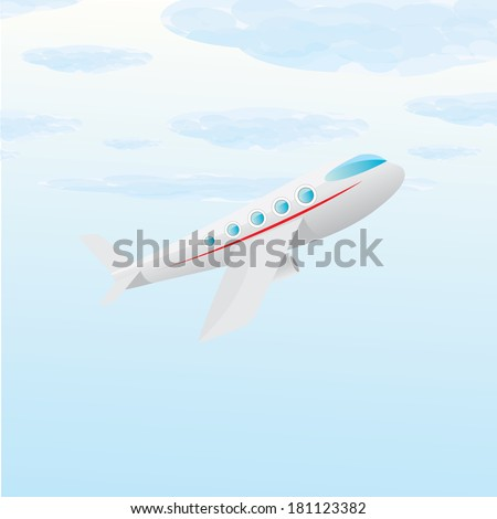 vector airplane icon. airplane fly in blue cloud sky