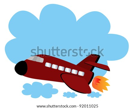 Vector - airplane.Speed airplane on the sky. - stock vector