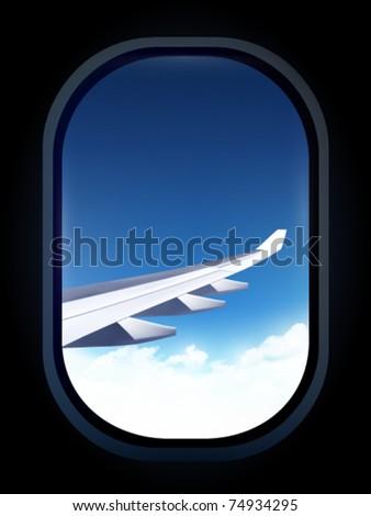 vector airplane window - stock vector