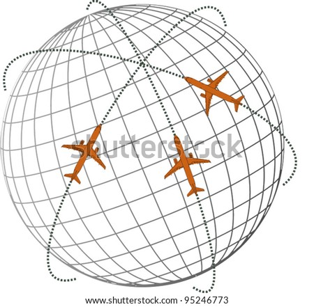 vector airplanes flying around the globe - stock vector