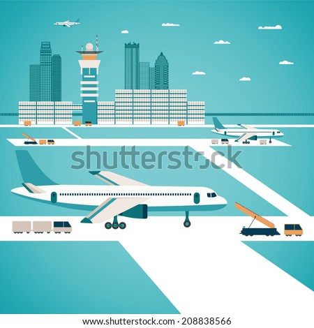 Vector airport concept with aircraft luggage transporter buildings and runway - stock vector