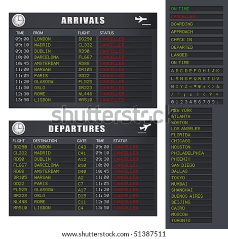 Vector Airport flight information board showing cancelled flights. JPG and TIFF image versions of this vector illustration are also available in my portfolio.