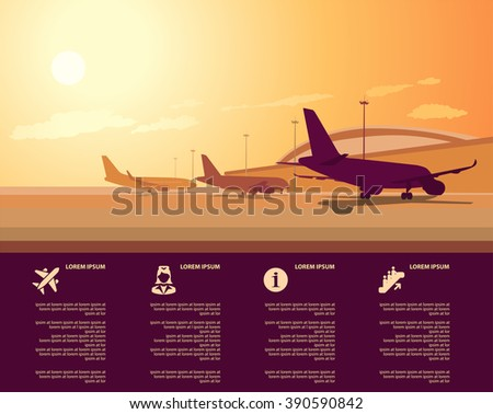 vector airport terminal with infographic elements templates - stock vector