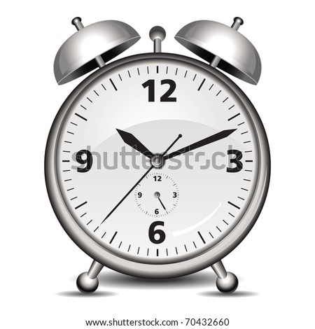 Vector alarm clock in silver isolated on white