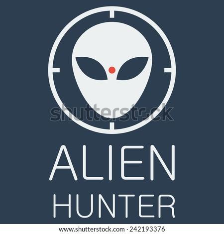 Vector alien hunter on blue background - stock vector
