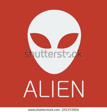 Vector alien on red background - stock vector