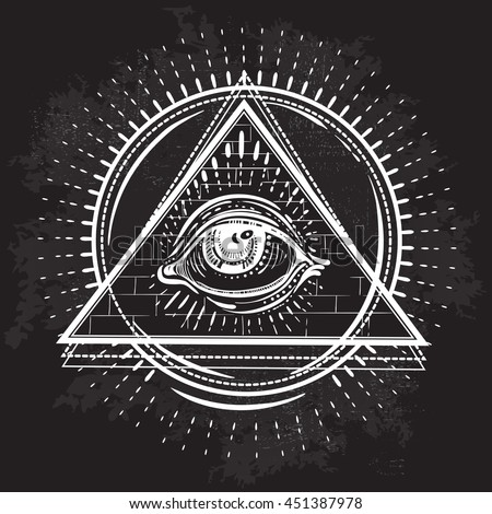 Vector All Seeing Eye Pyramid Symbol Tattoo Design Vintage Hand Drawn Freedom Spiritual