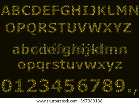Vector alphabet and digits. Capital and lowercase letters. Letters consists of small bubbles. - stock vector