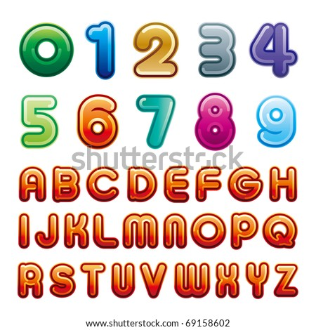 vector alphabet and number samples