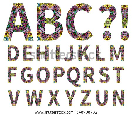 Vector alphabet, capital letters with colorful graphic ornament, geometric pattern. Isolated design elements for scrapbooks, Invitations or Cards, fabric or paper print. - stock vector