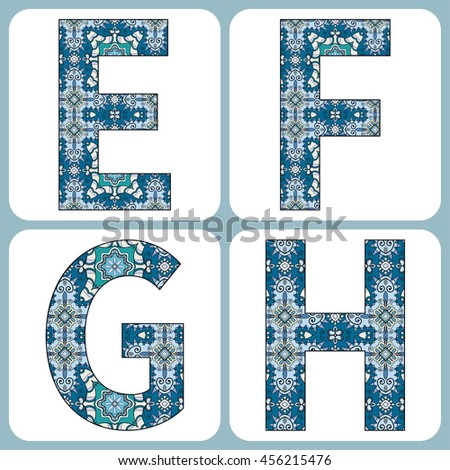 Vector alphabet, capital letters with floral and geometric ornament. Isolated design elements for scrapbooks, Invitations or Cards, fabric or paper print. - stock vector