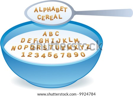vector Alphabet Cereal! Easily edit to spell your own message! - stock vector