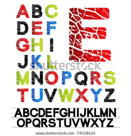 Vector alphabet - created of own font - stock vector
