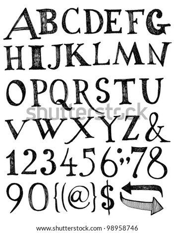 Vector alphabet. Hand drawn letters. - stock vector