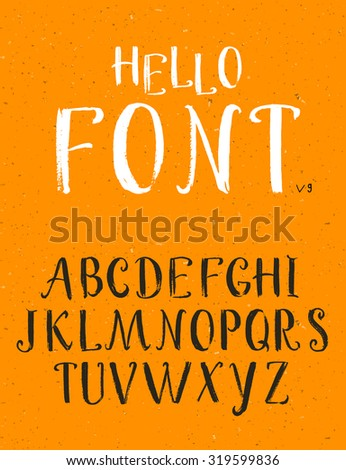 Vector alphabet. Hand drawn letters, calligraphic font - stock vector