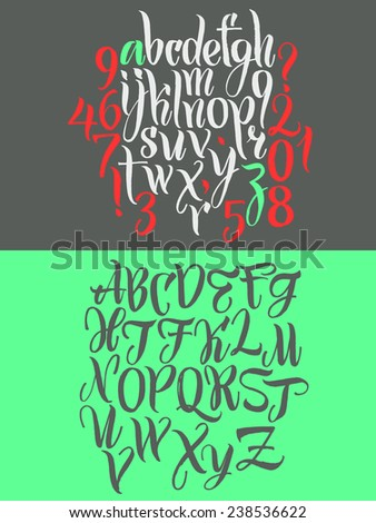 Vector alphabet. Hand drawn letters. Letters of the alphabet written with a brush - stock vector