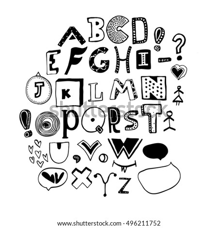 Vector alphabet. Hand drawn letters. Letters of the alphabet written with a pen.