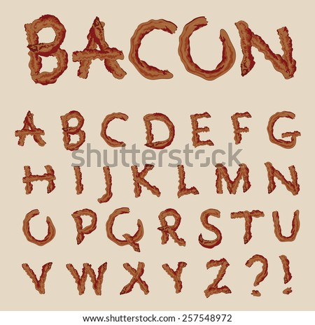 Vector alphabet in the shape of bacon letters - stock vector