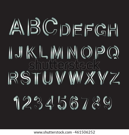 Vector  alphabet. Letters and numbers on black background.