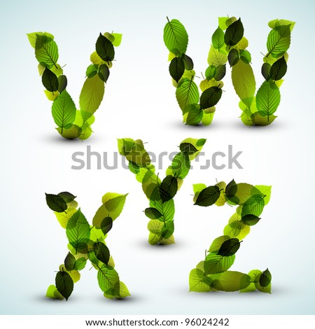 Vector alphabet letters made from fresh green leafs - stock vector