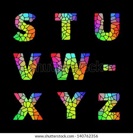 Vector alphabet mosaic font. - stock vector