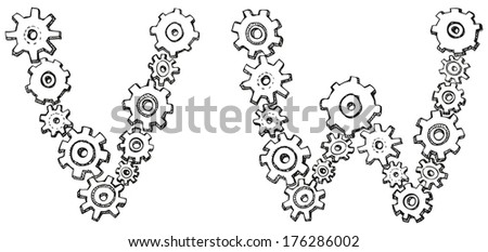 Vector alphabet of cheerful caricature hand-drawn characters consisting of spinning gears. Letters V, W isolated on white background - stock vector