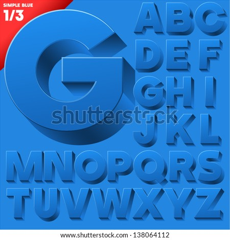 Vector alphabet of simple 3d letters. Sans bold. Upper cases Blue - stock vector