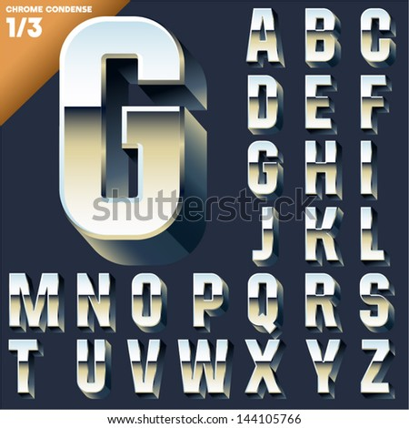 Vector alphabet of simple 3d letters. Sans bold. Upper cases Chrome - stock vector