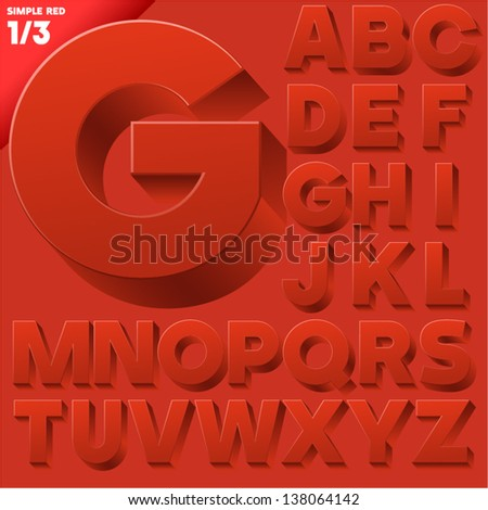 Vector alphabet of simple 3d letters. Sans bold. Upper cases Red - stock vector