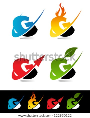 Vector alphabet set of various swoosh G logo icons - stock vector