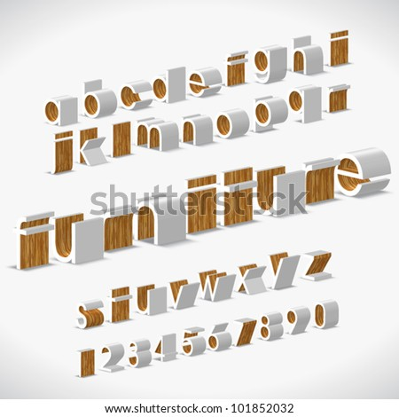 Vector Alphabet Shaped Furnitures - stock vector