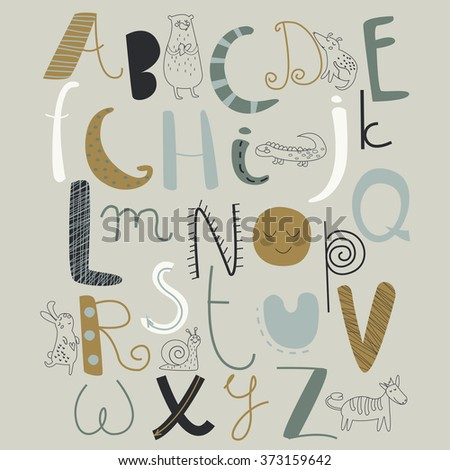 Vector alphabet with cute animals in cartoon style
