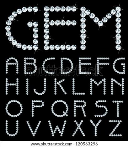 vector alphabet with diamonds - stock vector