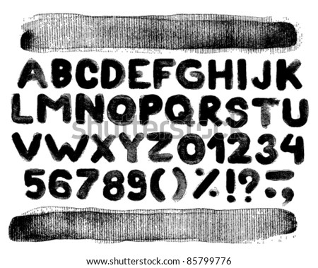 Vector alphabet with numbers and brush strokes - stock vector