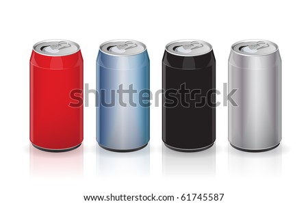 Vector aluminum drink cans - stock vector