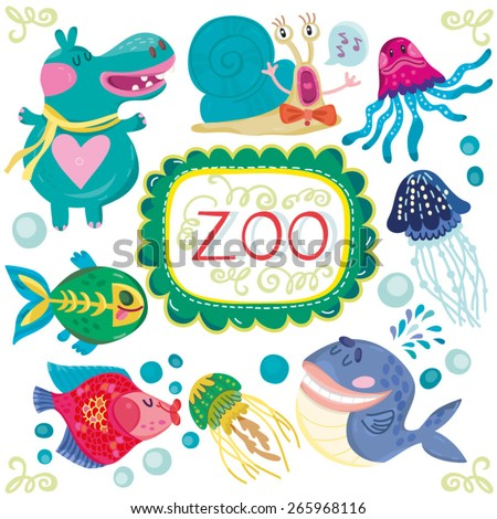 Vector amazing colorful set of funny and adorable animals. Set number 1. - stock vector