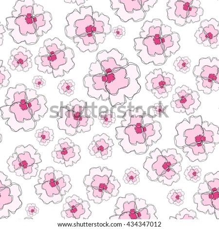 Vector amazing flower seamless pattern. Beautiful abstract violet, viola, flat style, simple line. Perfect for web, print, texture, fabric, background design. Tender pink, rose color