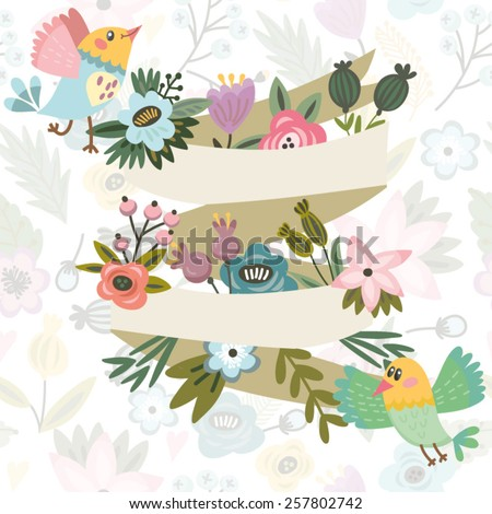 Vector amazing illustration of floral composition, birds and banner. Amazing template for your design.