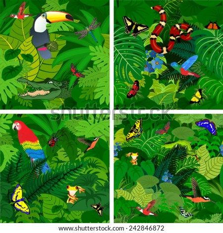 vector amazon jungle seamless pattern with ara parrot, snake, spider, butterflies and  crocodile - stock vector