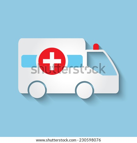 Vector ambulance car flat icon. Eps 10. - stock vector