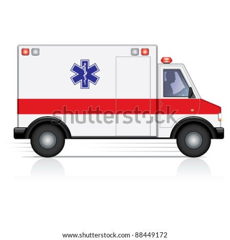 Vector ambulance in motion with a driver silhouette - stock vector