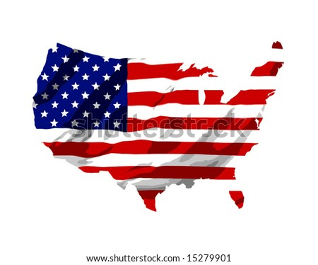 Vector America Flag Map - stock vector