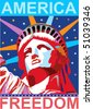 Vector America freedom statue - stock vector