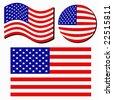 Vector American Flag Set - stock vector