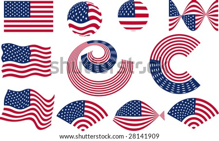Vector American Flag Set design elements - stock vector