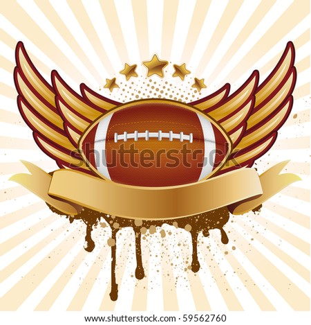 vector american football and wing - stock vector