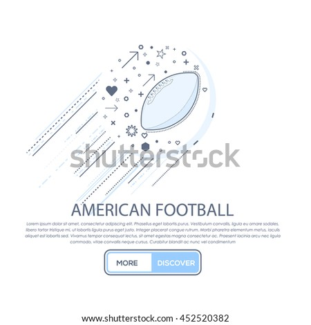 Vector American Football Concept Thin Line Icons Template