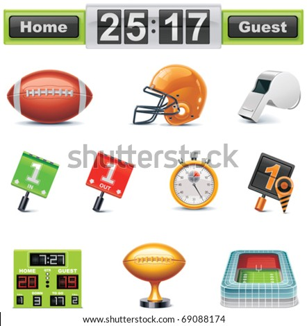 Vector American football / gridiron icon set. Part 1 - stock vector