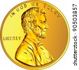 Vector American money, one cent gold coin with the image of the Lincoln - stock photo