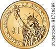 Vector American money, one dollar coin with the image of the Statue of Liberty - stock
